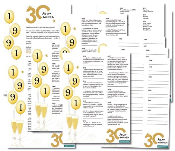 30-årsfest quiz